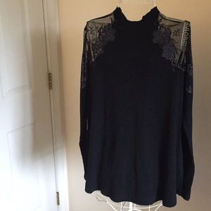 Free People Black high neck Tee size M